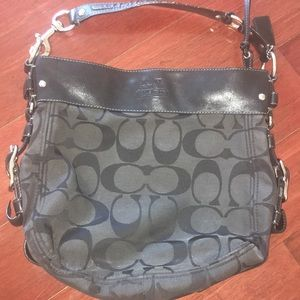 Black Leather Accented Coach Purse